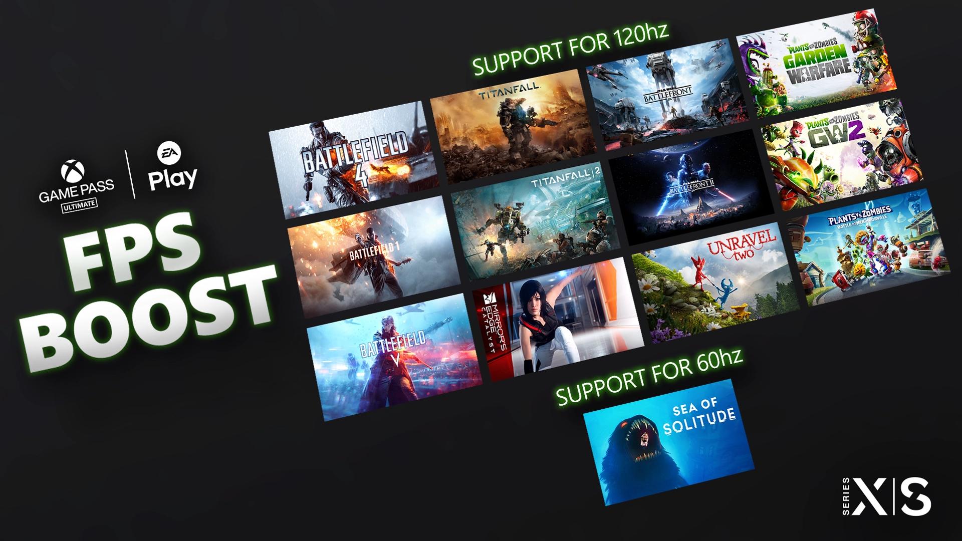 'Boost' hasta 120 FPS para 13 juegos de EA Play en Xbox Series X|S
