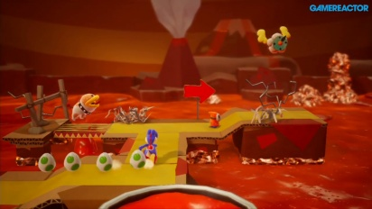 Yoshi's Crafted World - Gameplay de Con Poochy en el mar ígneo