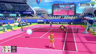Mario Tennis: Ultra Smash - Gameplay Tenis Convencional Sencillo - Daisy & Boo vs DK & Mario