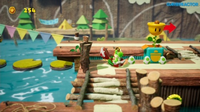 Yoshi's Crafted World - Gameplay de Travesía sobre nenúfares