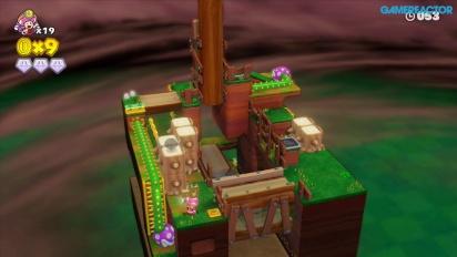 Captain Toad: Treasure Tracker: Gameplay misión 2-2 Fuga sobre los troncos
