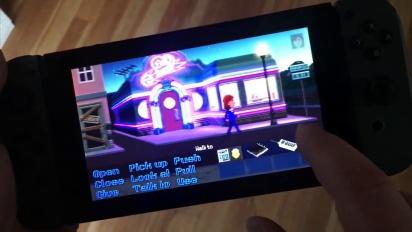 Thimbleweed Park - Jugando en Nintendo Switch con control táctil
