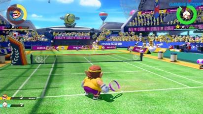 Mario Tennis Aces - Gameplay Wario vs Estela nivel Profesional