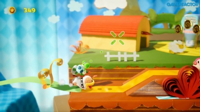 Yoshi's Crafted World - Gameplay Con Poochy y las cintas de colores