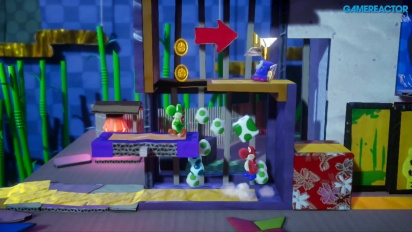 Yoshi's Crafted World - Gameplay co-op en Puertas y Trampas Ninja