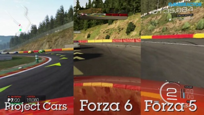 Forza Motorsport 6 vs Project CARS vs Forza 5 Gameplay comparativo: Spa-Francorchamps