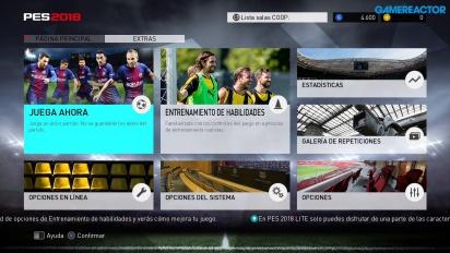 PES 2018 Lite - Menús y gameplay partido completo Barça - Liverpool