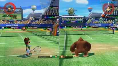 Mario Tennis Aces - Gameplay multijugador a pantalla partida