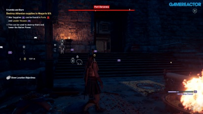 Assassin's Creed Odyssey - Gameplay del fuerte ateniense en Megaris de noche